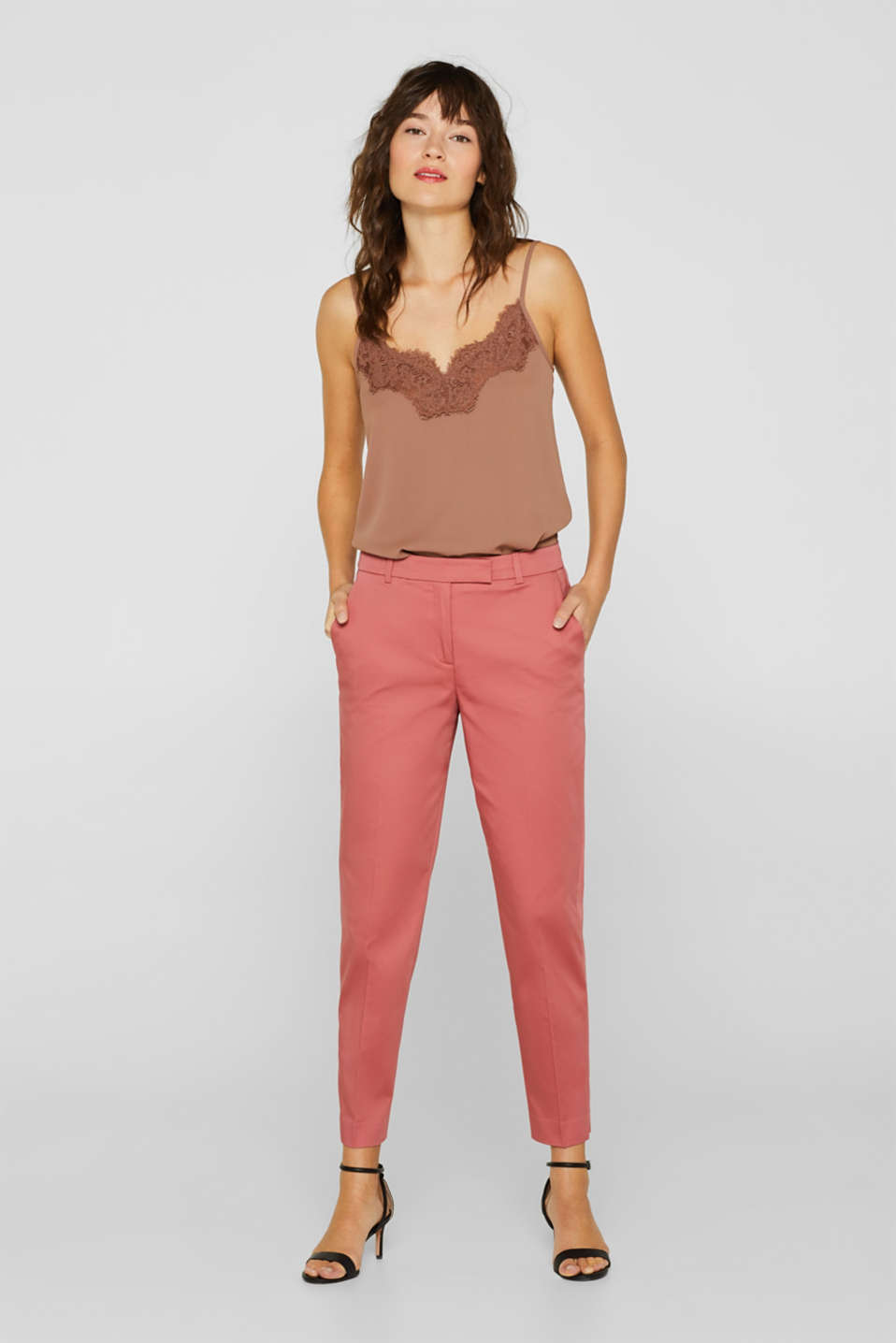 Esprit - COTTON SATIN mix + match stretch trousers