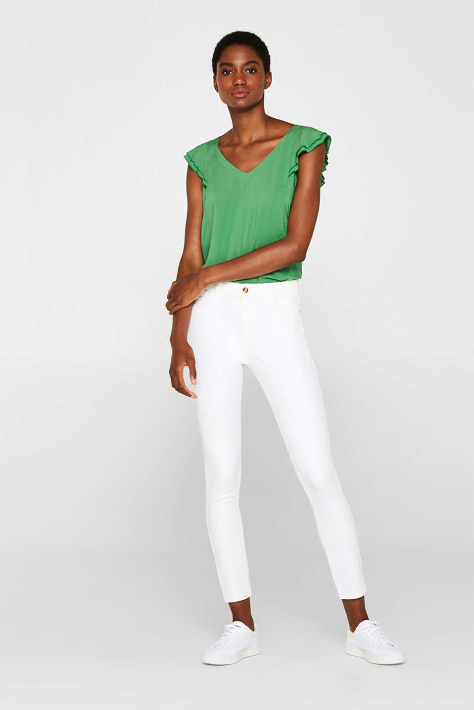 Esprit - Ankle-length super stretch jeans with a high waistband