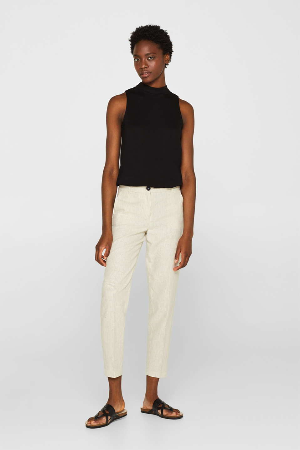 Esprit - PINSTRIPE Mix + Match Linen blend trousers