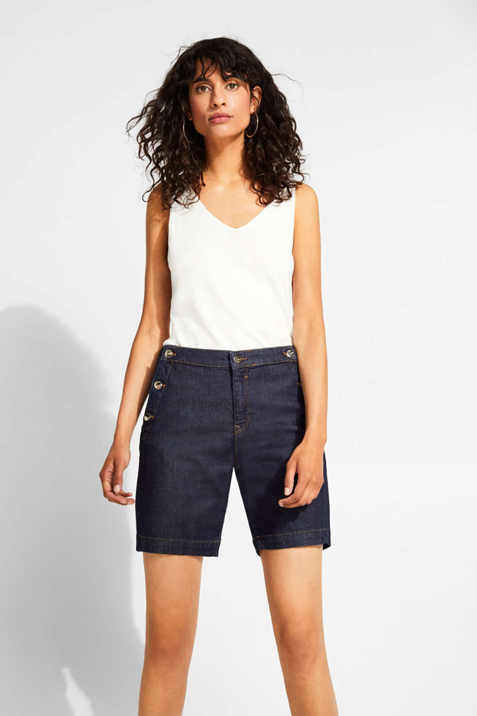 Esprit - Stretch denim Bermudas with lyocell and organic cotton