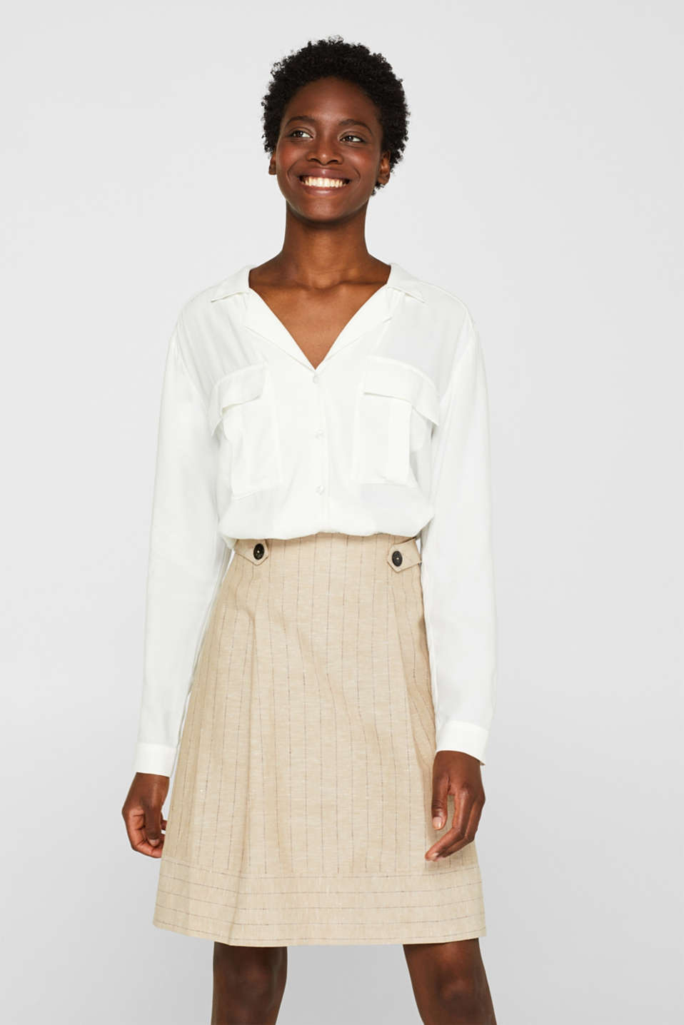 Esprit - Linen blend: A-line skirt with pinstripes