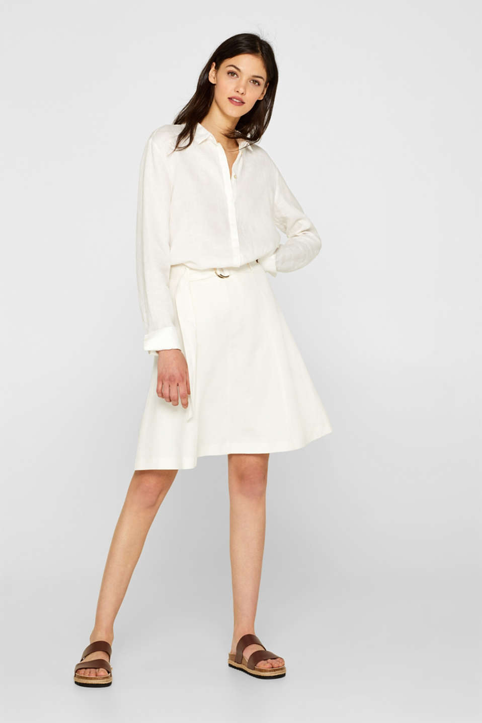 Esprit - Linen blend: Flared skirt with a belt