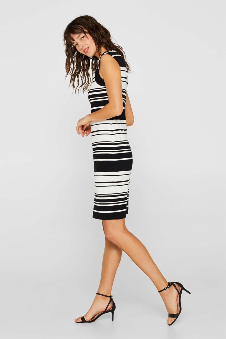 Sheath dress in jersey with stretch for comfort, BLACK, detail
