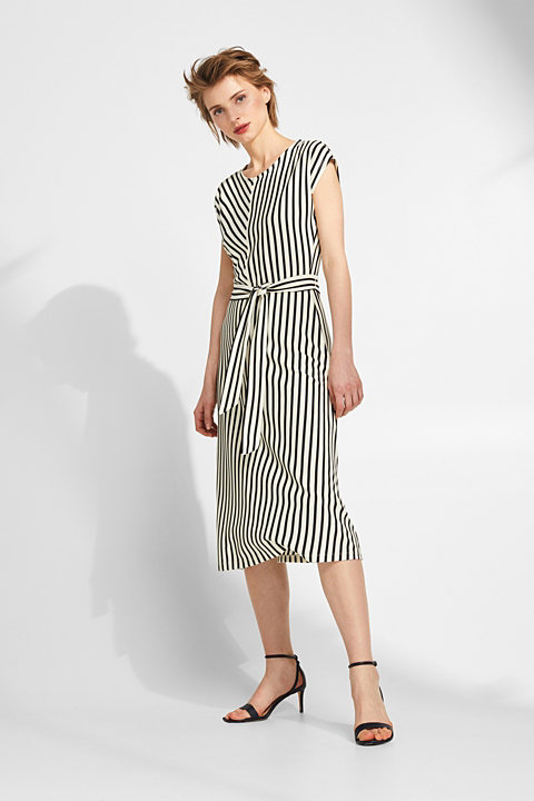 Textured stretch jersey dress with stripes