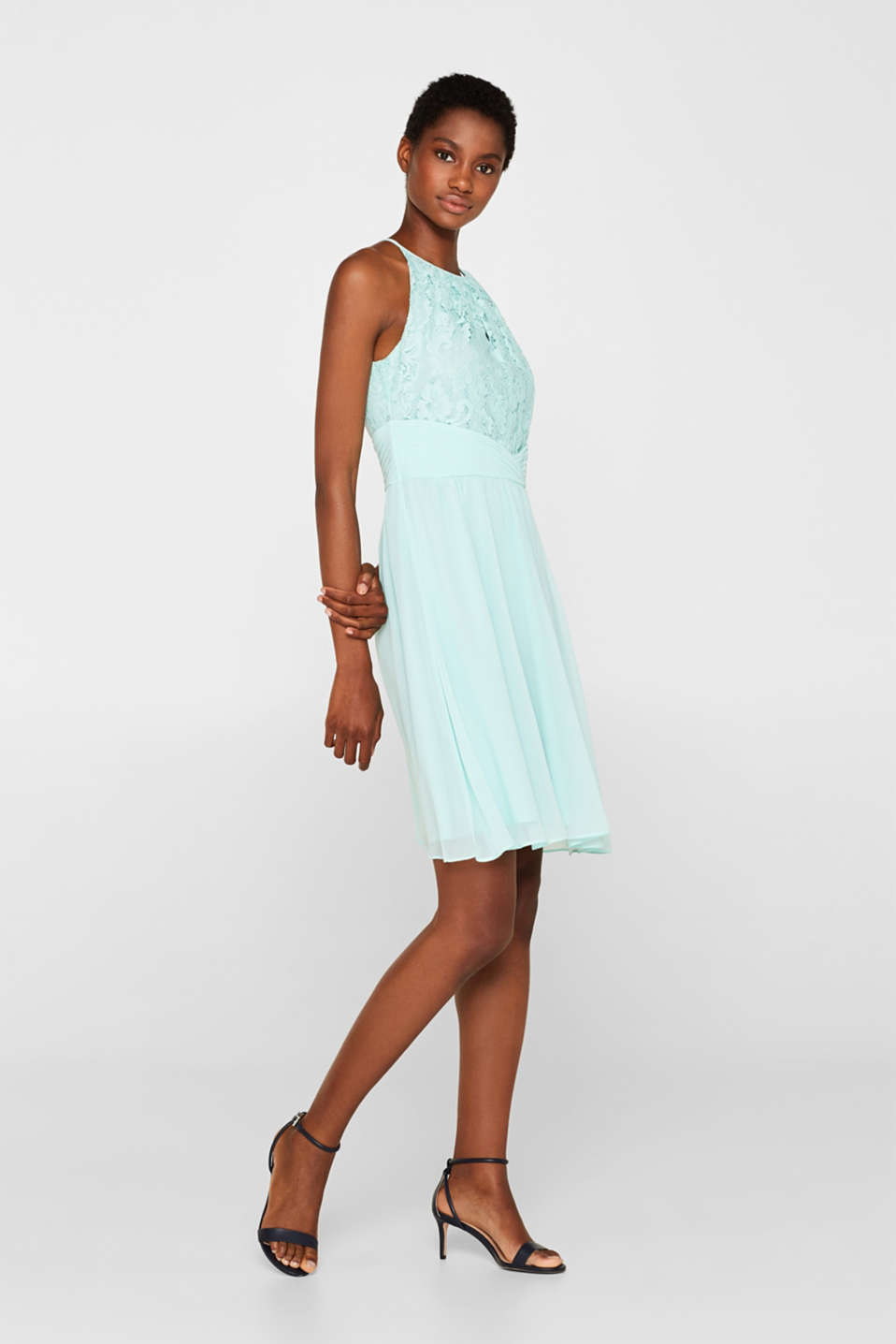 Esprit - Dress in floral lace and chiffon