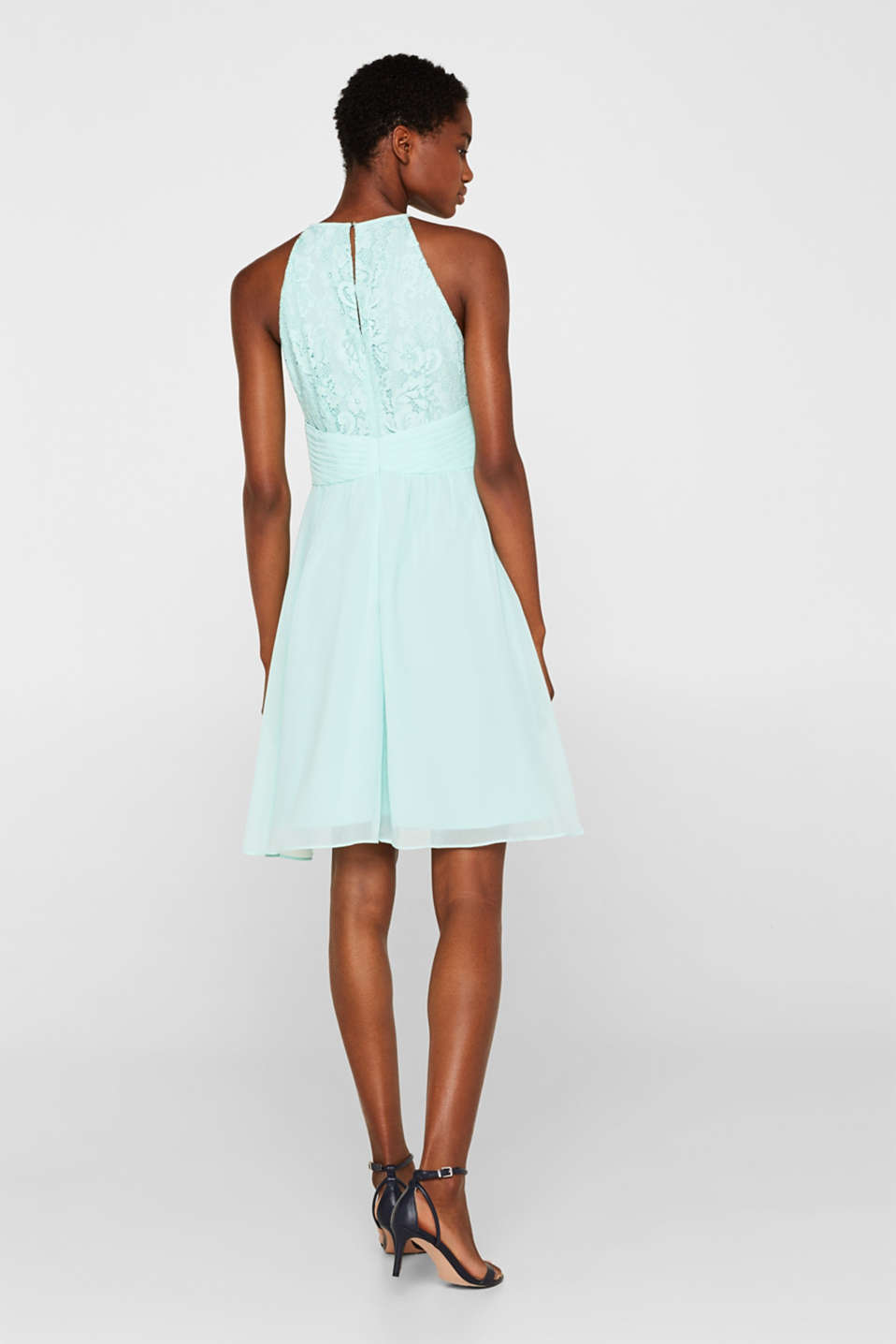Dress in floral lace and chiffon, LIGHT AQUA GREEN, detail image number 2