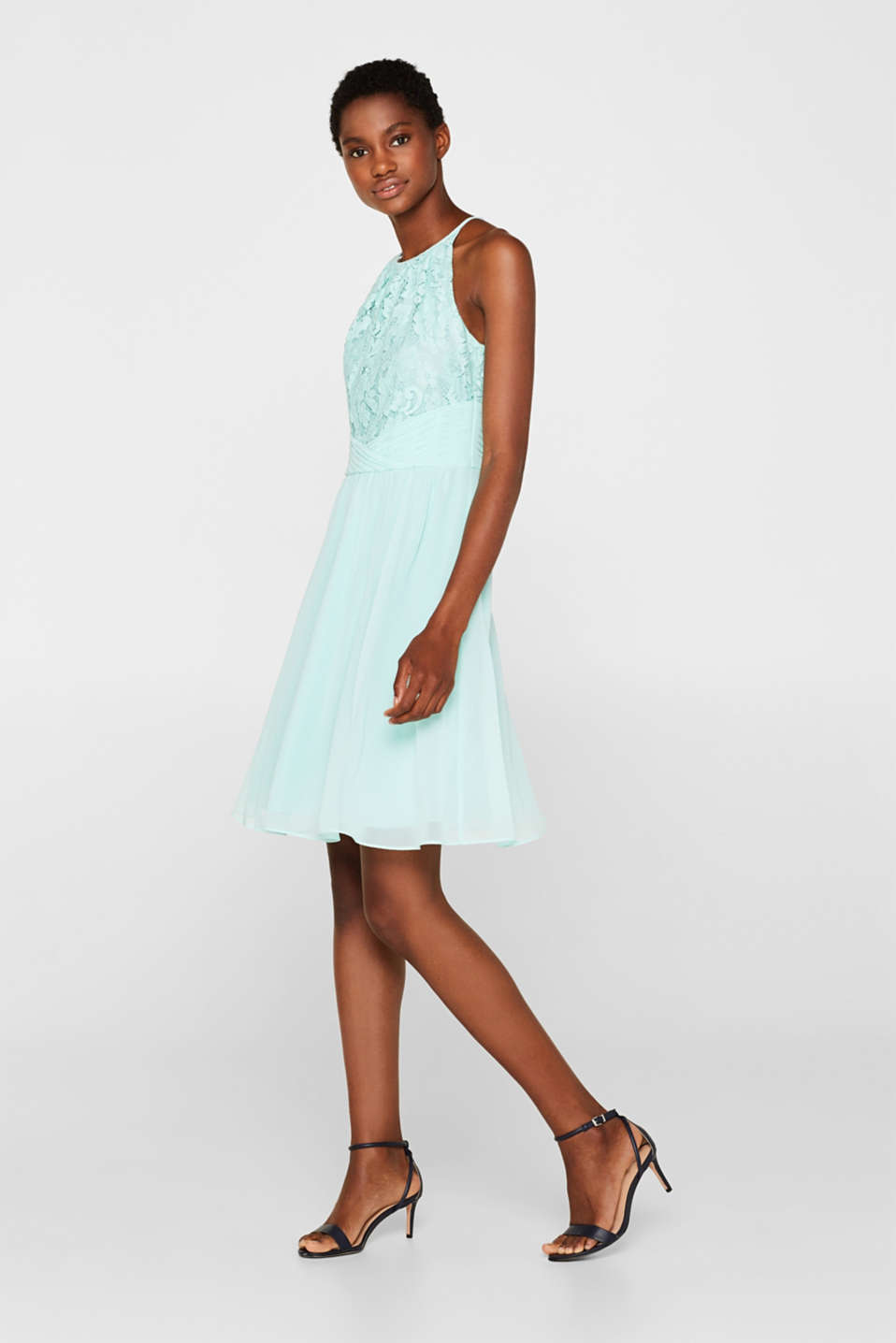 Dress in floral lace and chiffon, LIGHT AQUA GREEN, detail image number 1