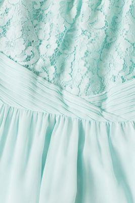 Dress in floral lace and chiffon, LIGHT AQUA GREEN, detail
