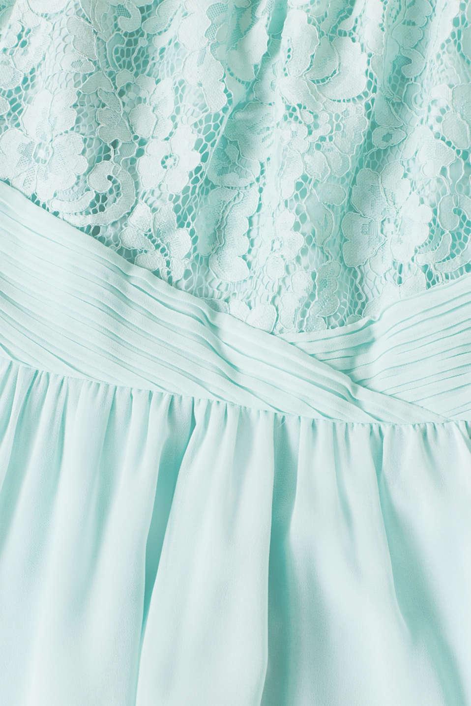 Dress in floral lace and chiffon, LIGHT AQUA GREEN, detail image number 4