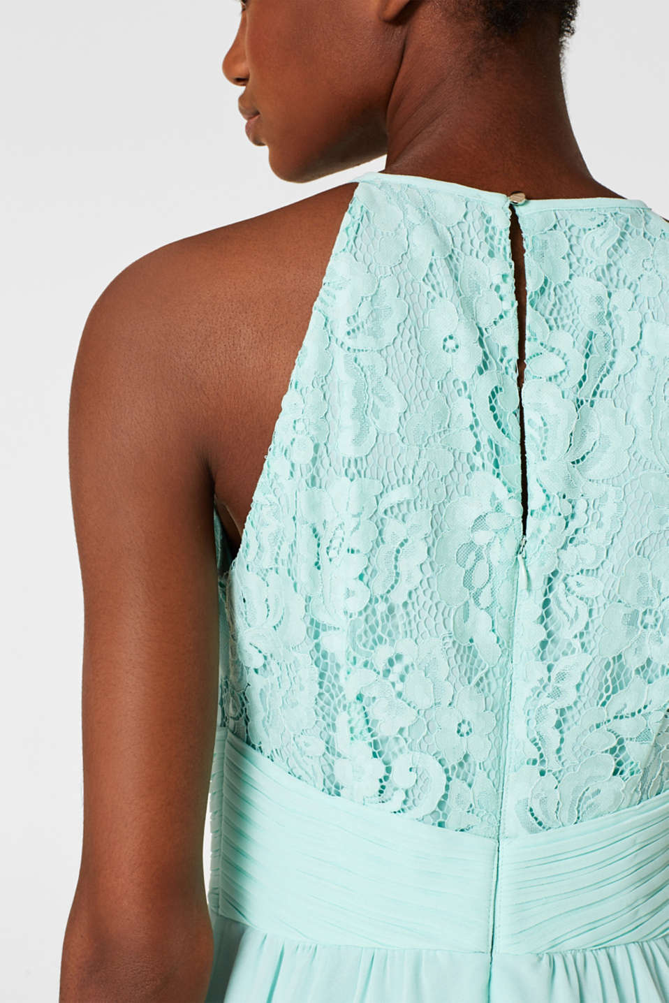 Dress in floral lace and chiffon, LIGHT AQUA GREEN, detail image number 5