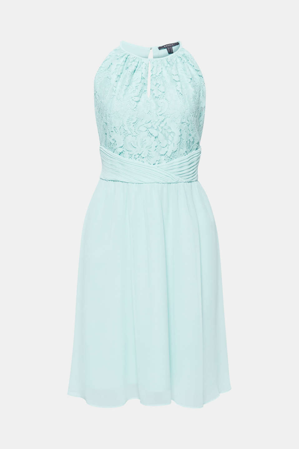 Dress in floral lace and chiffon, LIGHT AQUA GREEN, detail image number 7