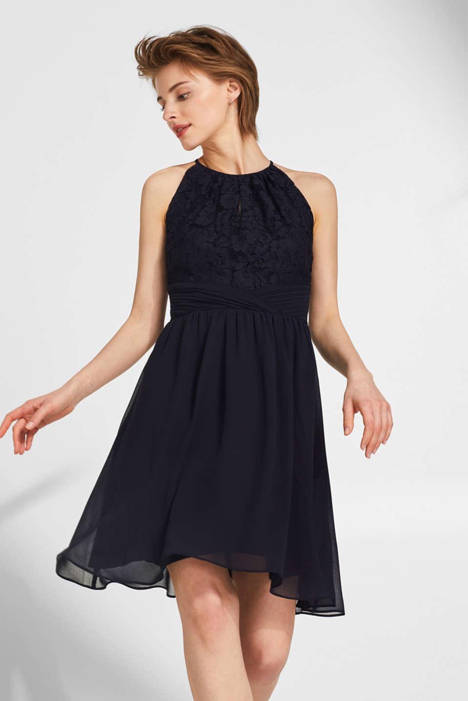 Esprit - Kleid aus floraler Spitze und Chiffon im Online ...