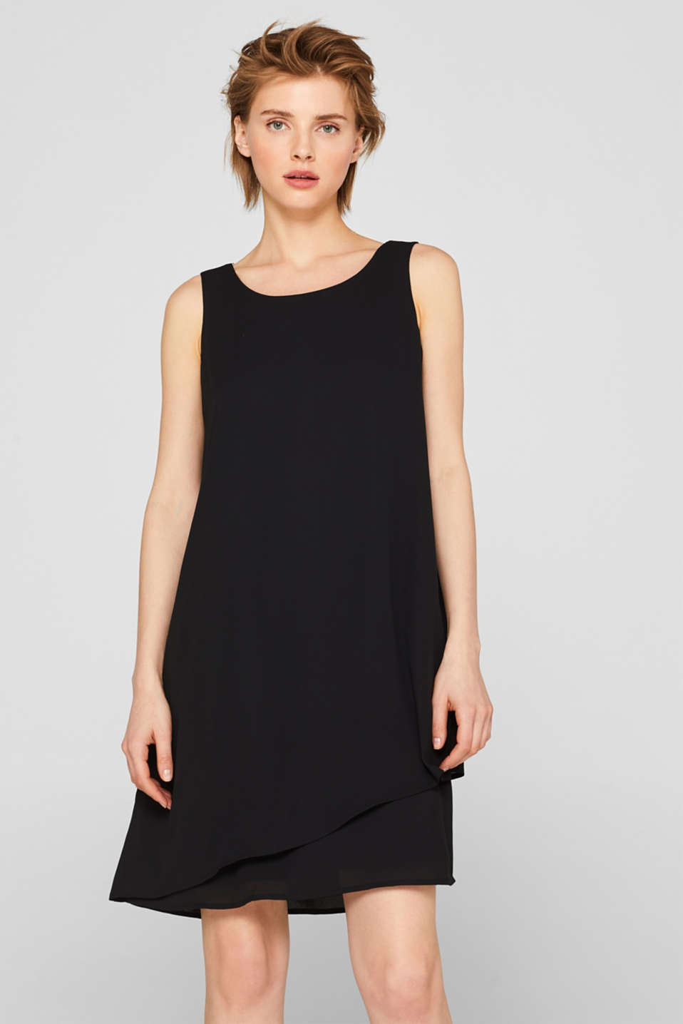 Esprit - Layered chiffon dress with adjustable chain