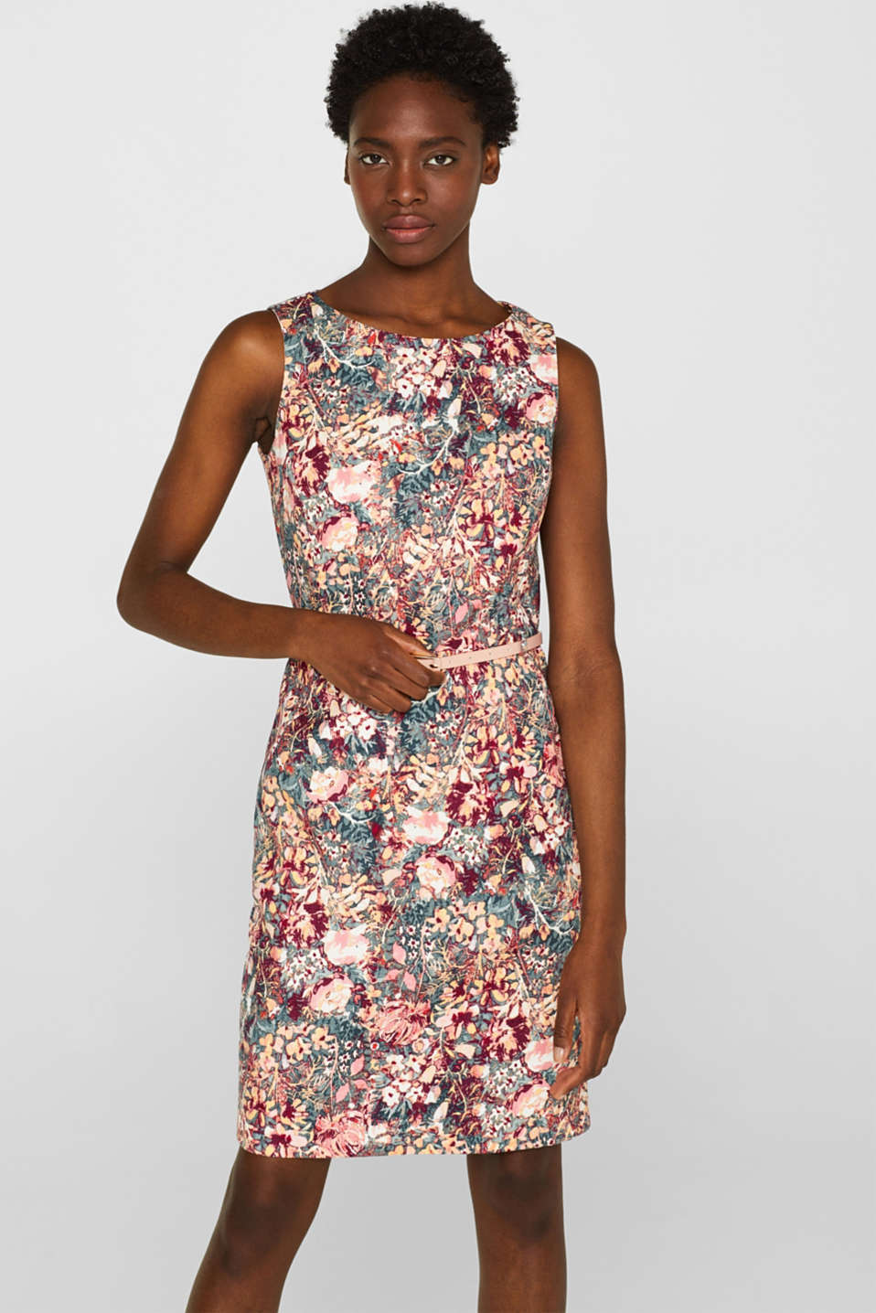 Esprit - Stretchy sheath with a floral print and belt