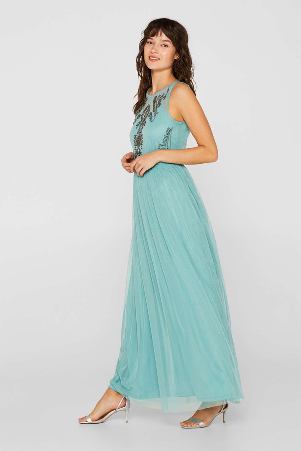 Esprit - Chiffon dress with bead embellishments