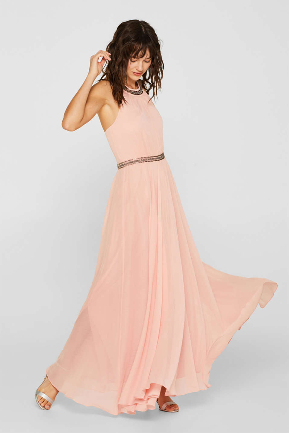 Esprit - Chiffon dress with a cut-away neckline
