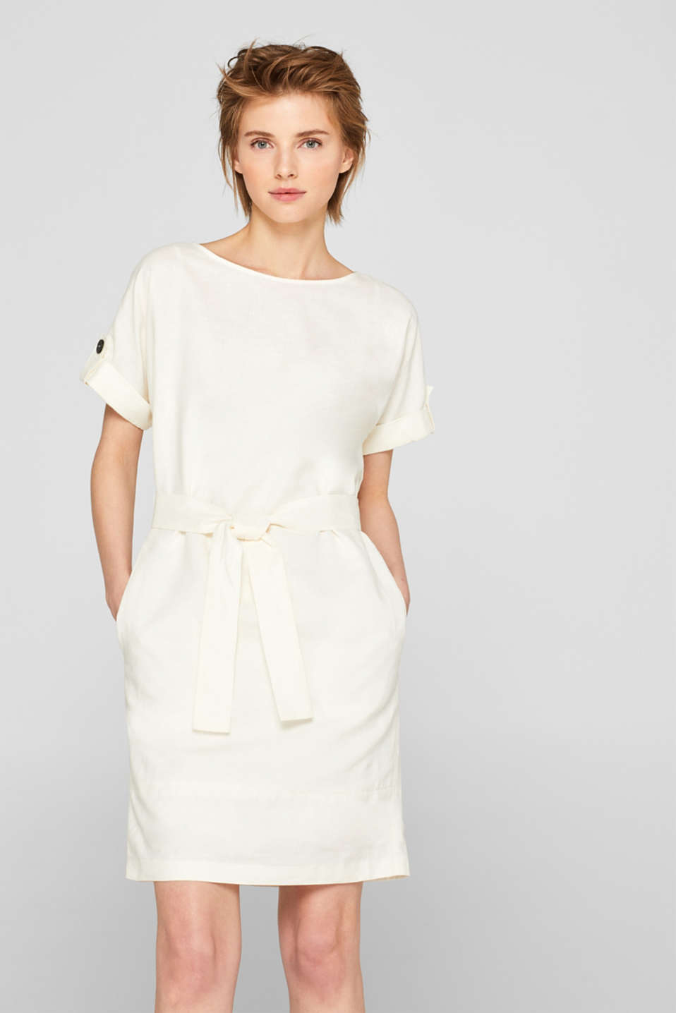 Esprit - Made of blended linen: dress with a button placket