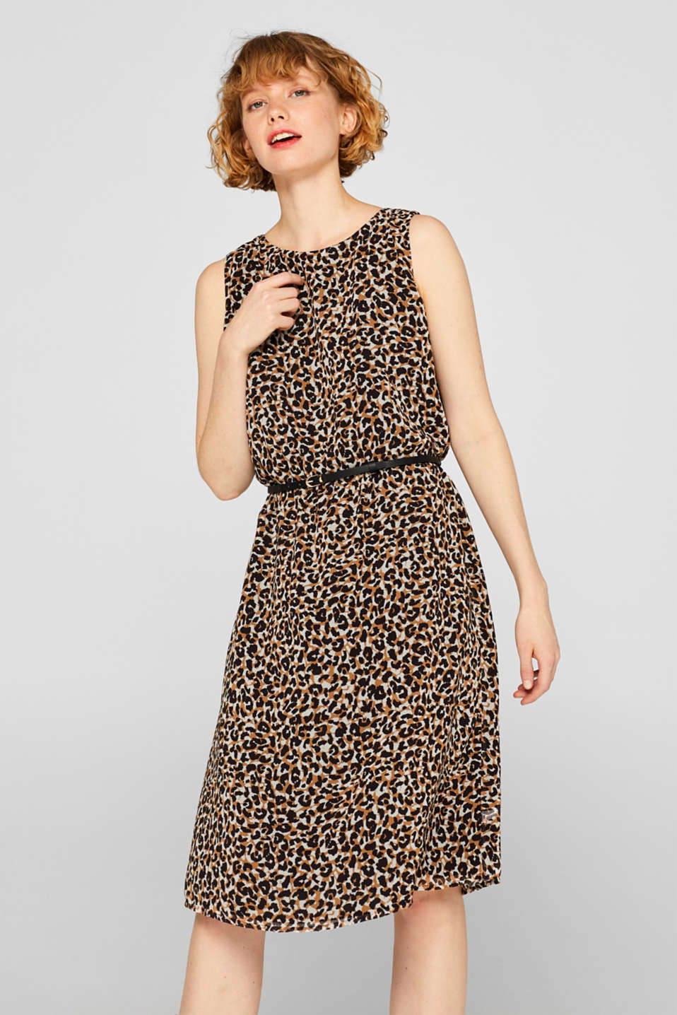 Esprit - Chiffon dress with leopard print and a bow