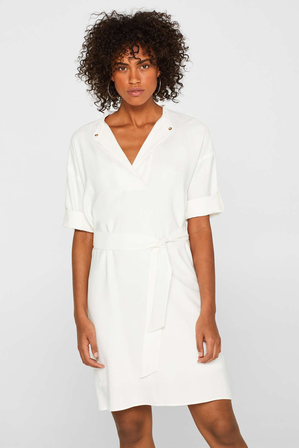 Esprit - Shirt dress style dress with turn-up sleeves