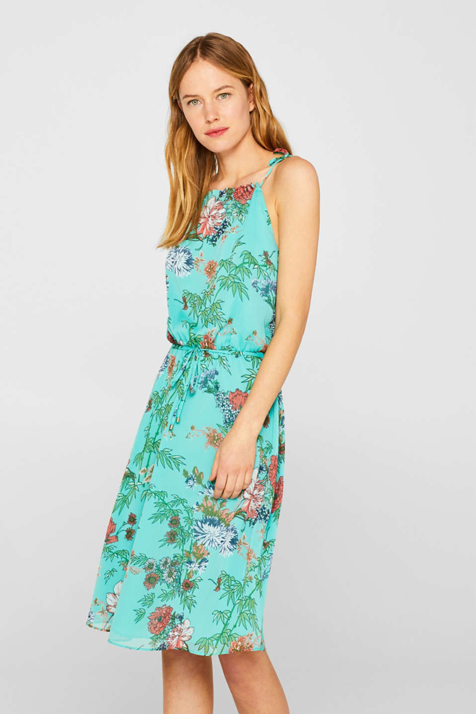 Esprit - Crinkle dress with a floral print
