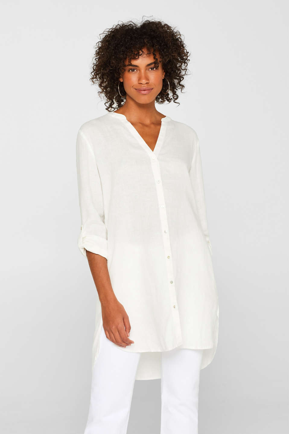 Esprit - Long tunic blouse made of 100% linen