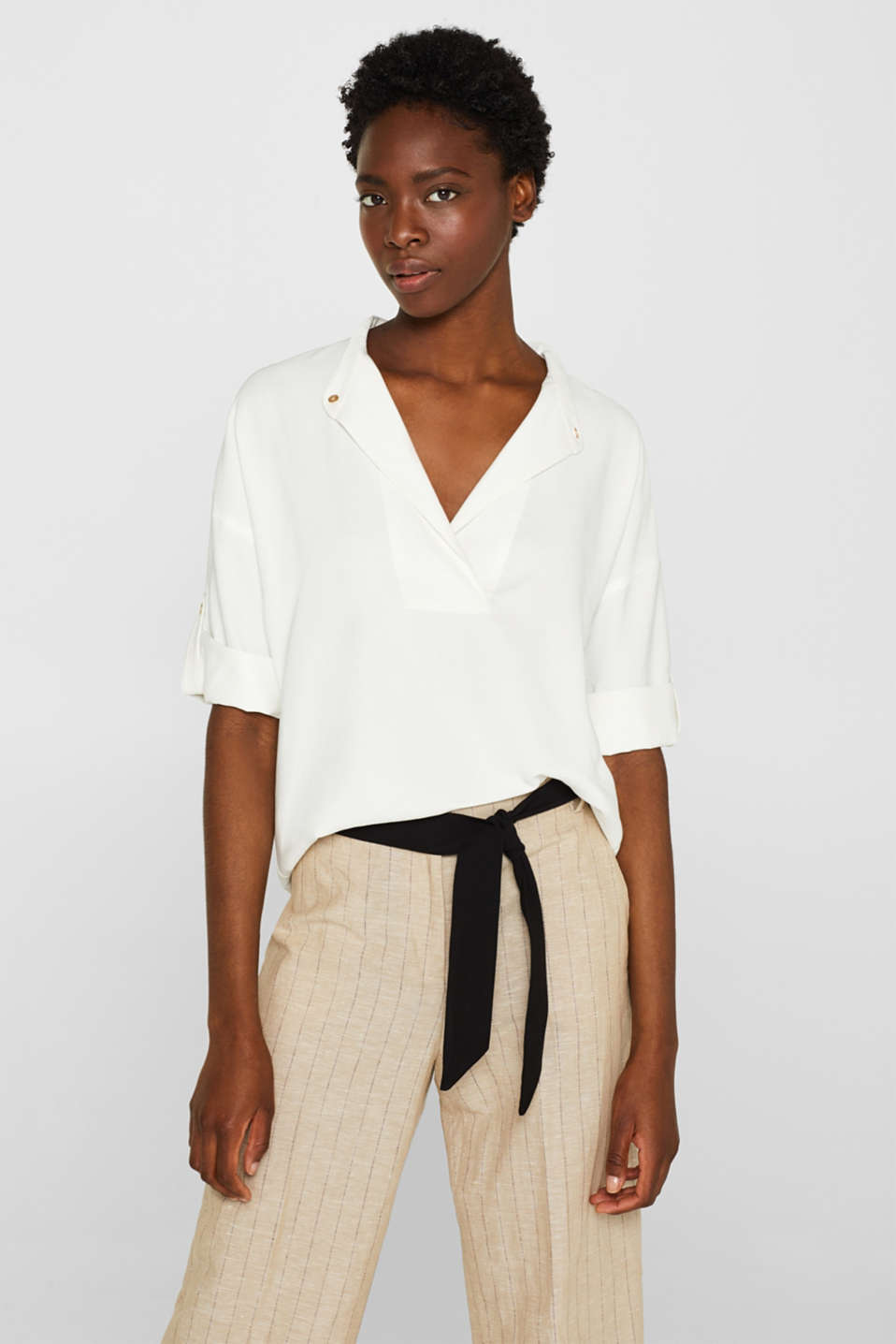 Esprit - Blouse with variable, and turn-up sleeves