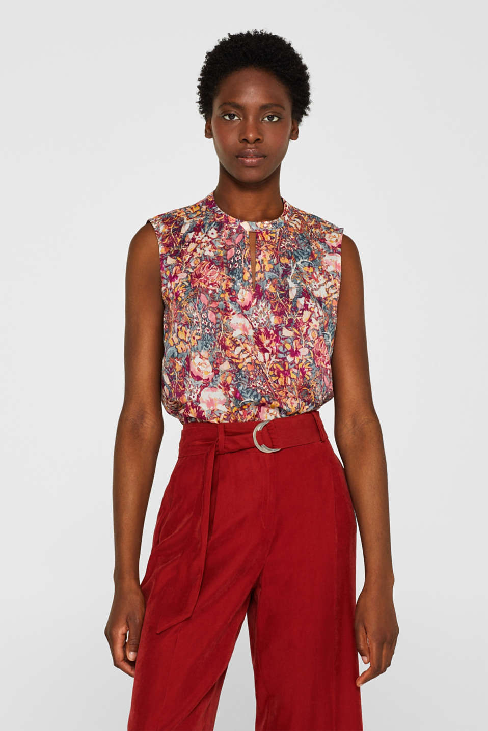 Esprit - Blouse top with print, in 100% cotton