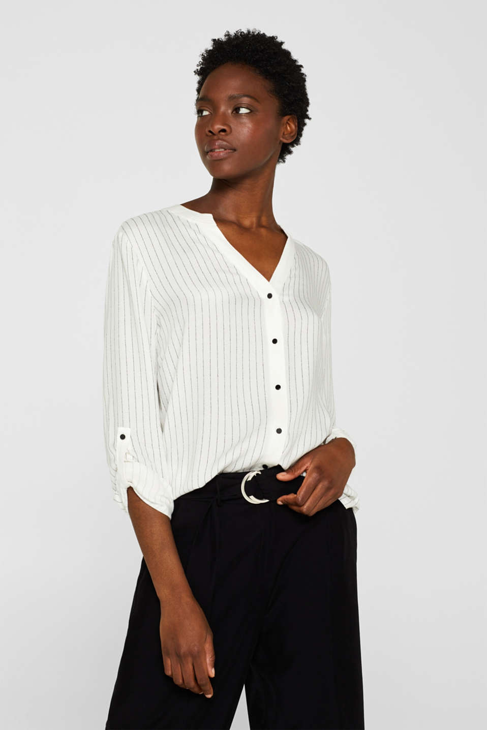 Esprit - Henley blouse with pinstripes