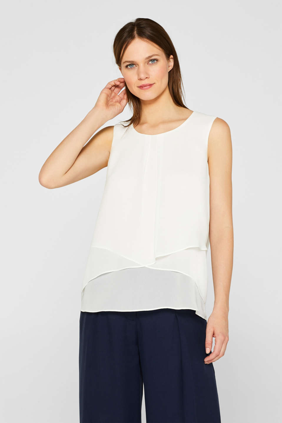 Esprit - Blouse top with a layered effect