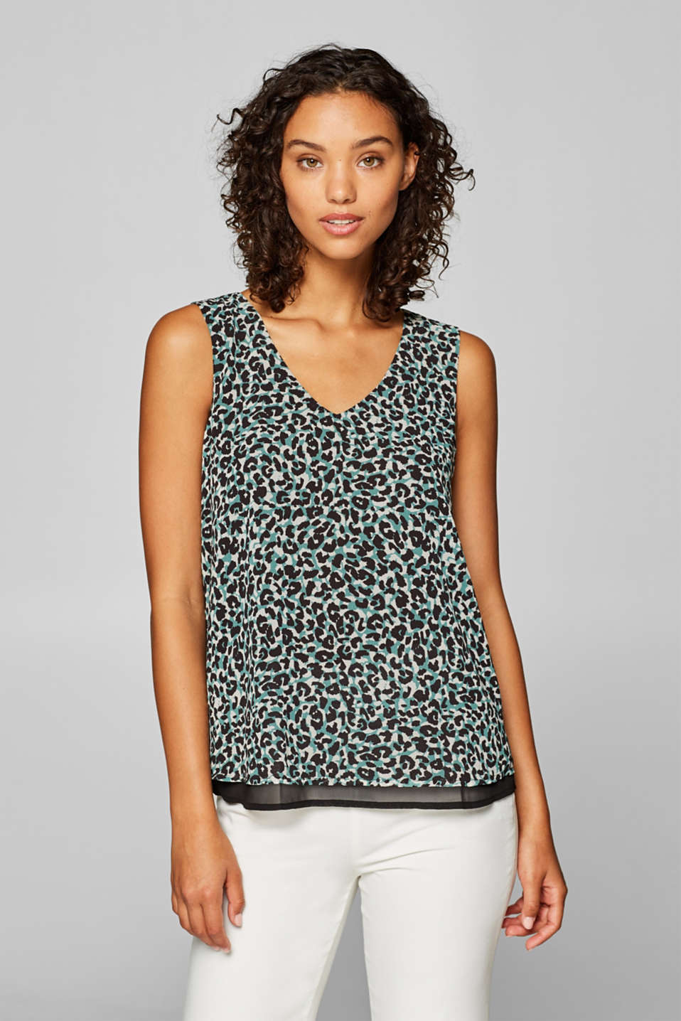 Esprit - Blouse top with leopard print and bow