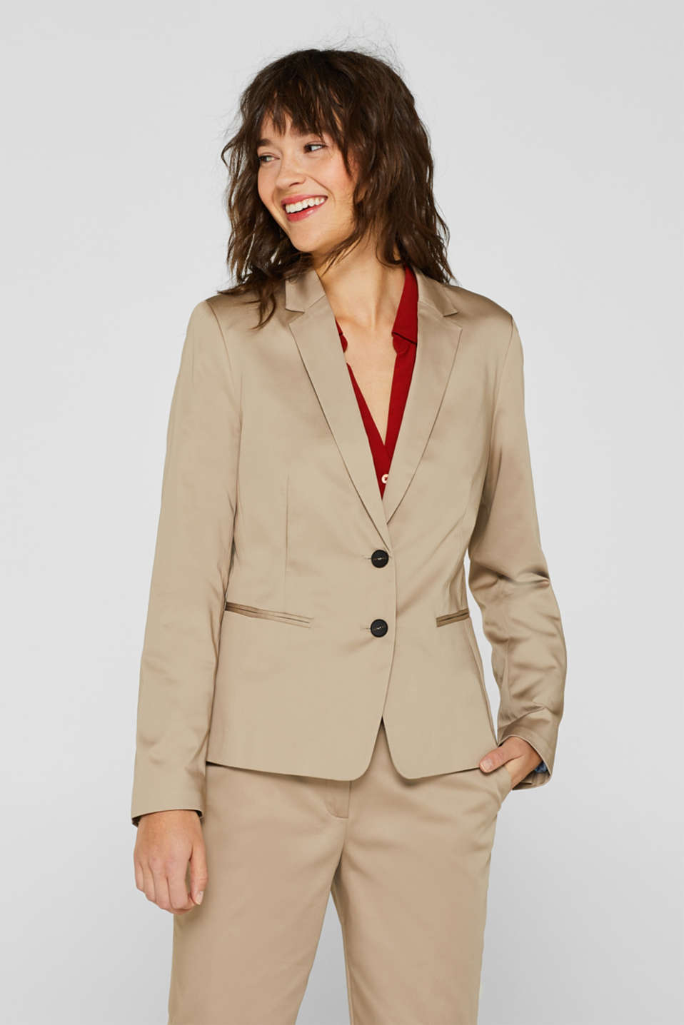 Esprit - COTTON SATIN mix + match stretch blazer
