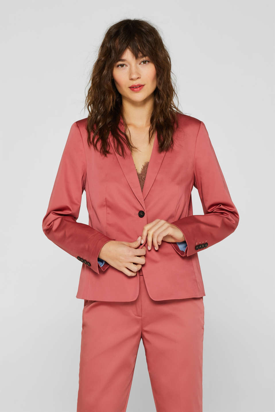 Esprit - COTTON SATIN Mix + Match Stretch-Blazer