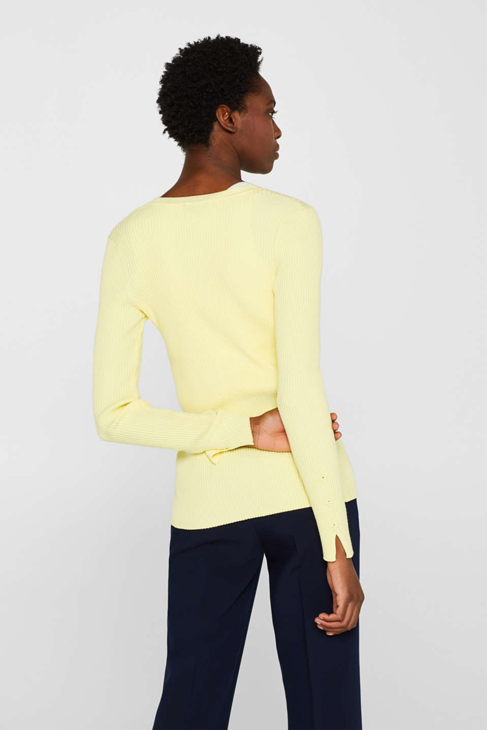 Sweaters cardigan, LIME YELLOW, detail image number 3