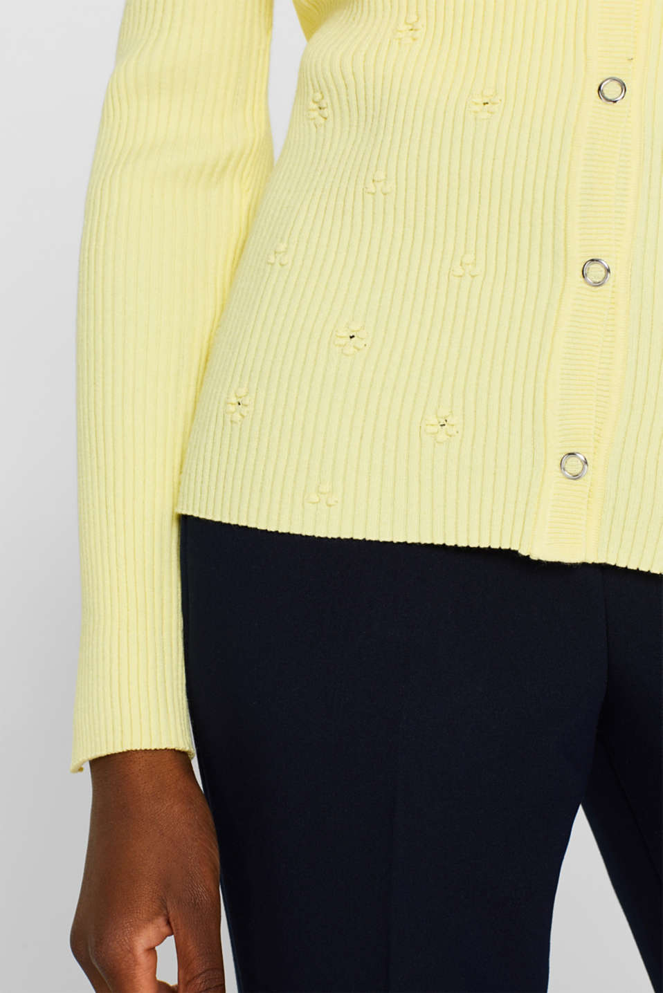 Sweaters cardigan, LIME YELLOW, detail image number 5