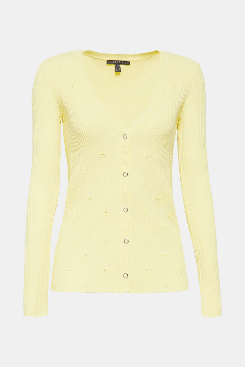 Sweaters cardigan, LIME YELLOW, detail image number 6