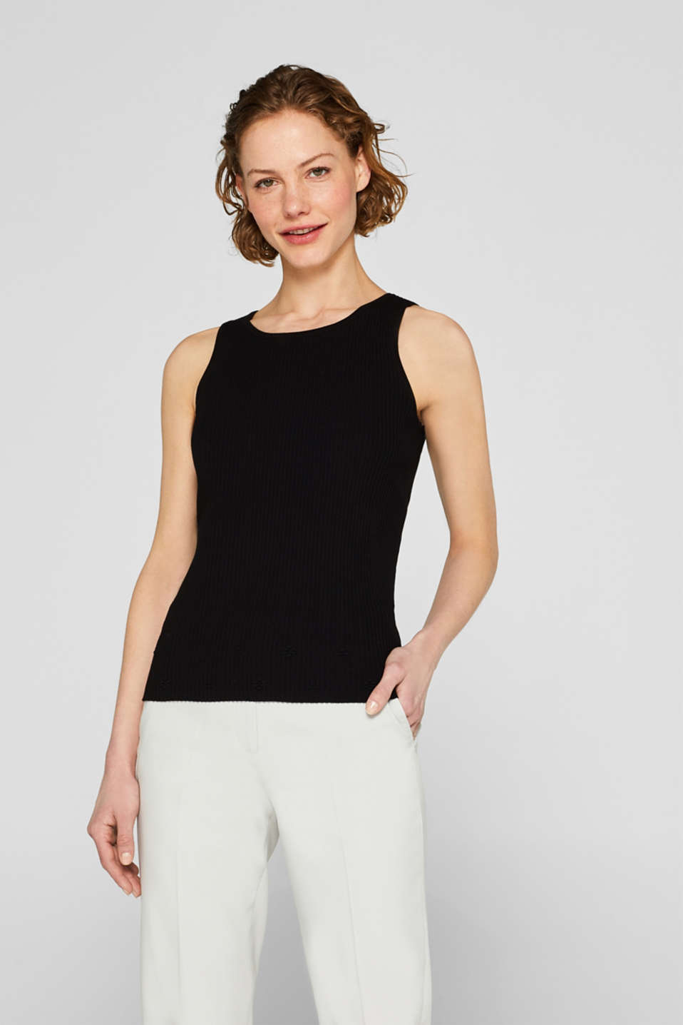 Esprit - Rib knit top with floral texture