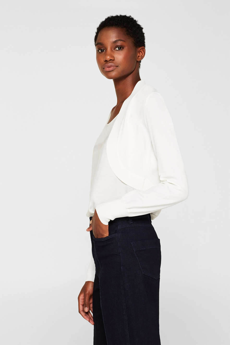 Esprit - Bolero cardigan with trend sleeves