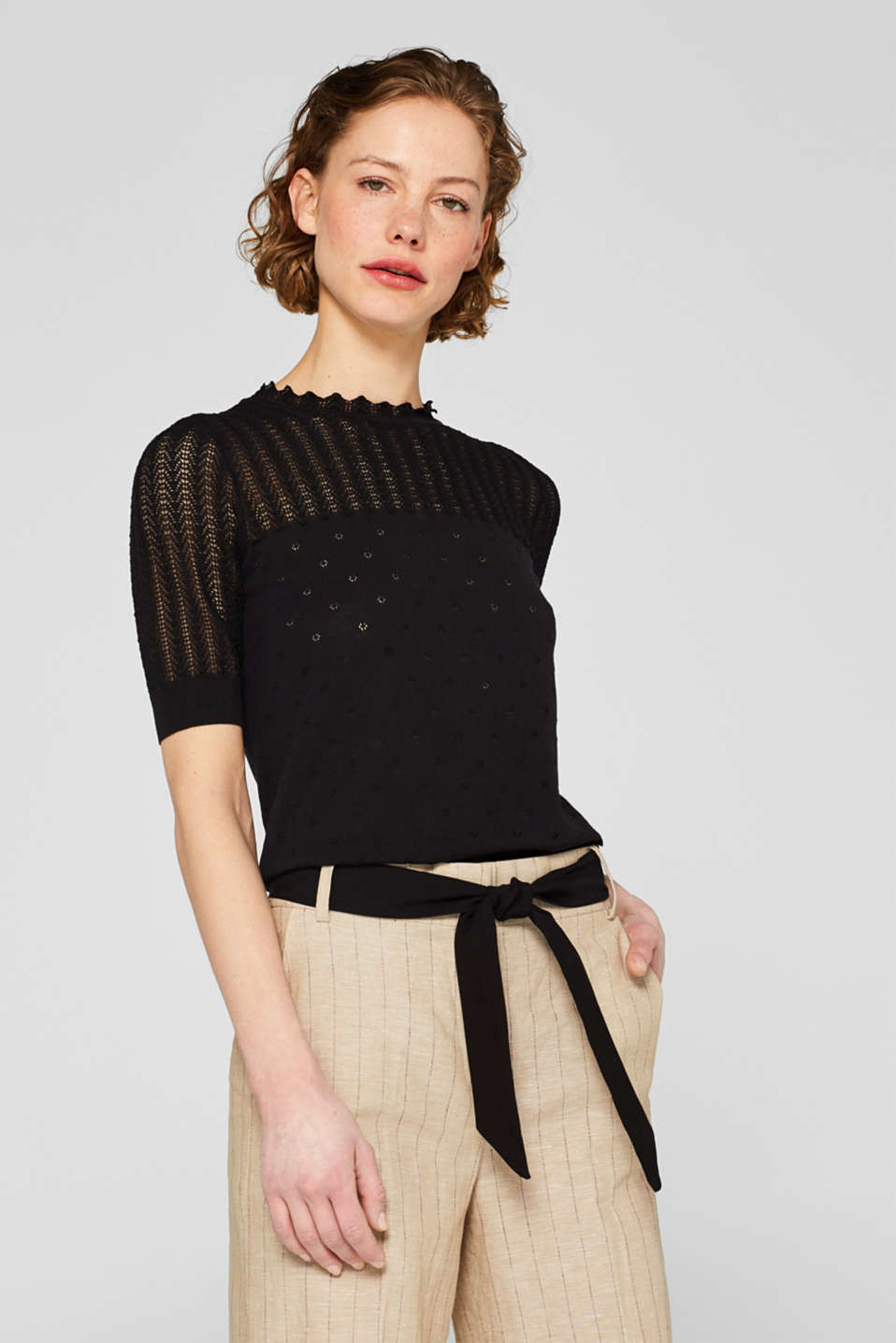Esprit - Openwork jumper with fine crocheted lace