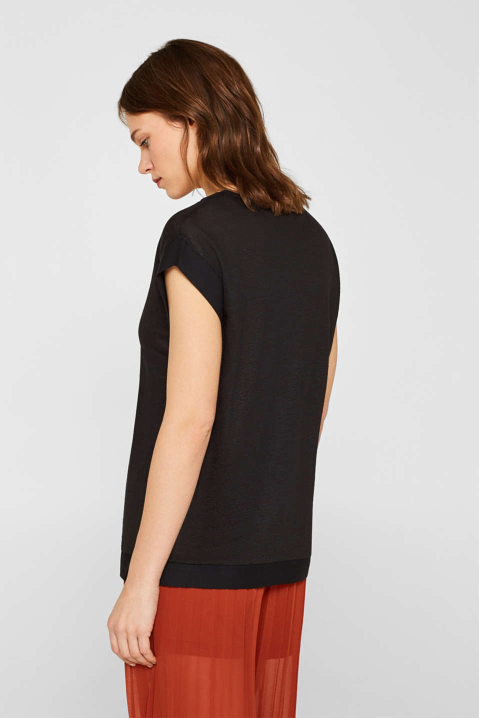 Made of blended linen: top with fabric trims, BLACK, detail image number 3
