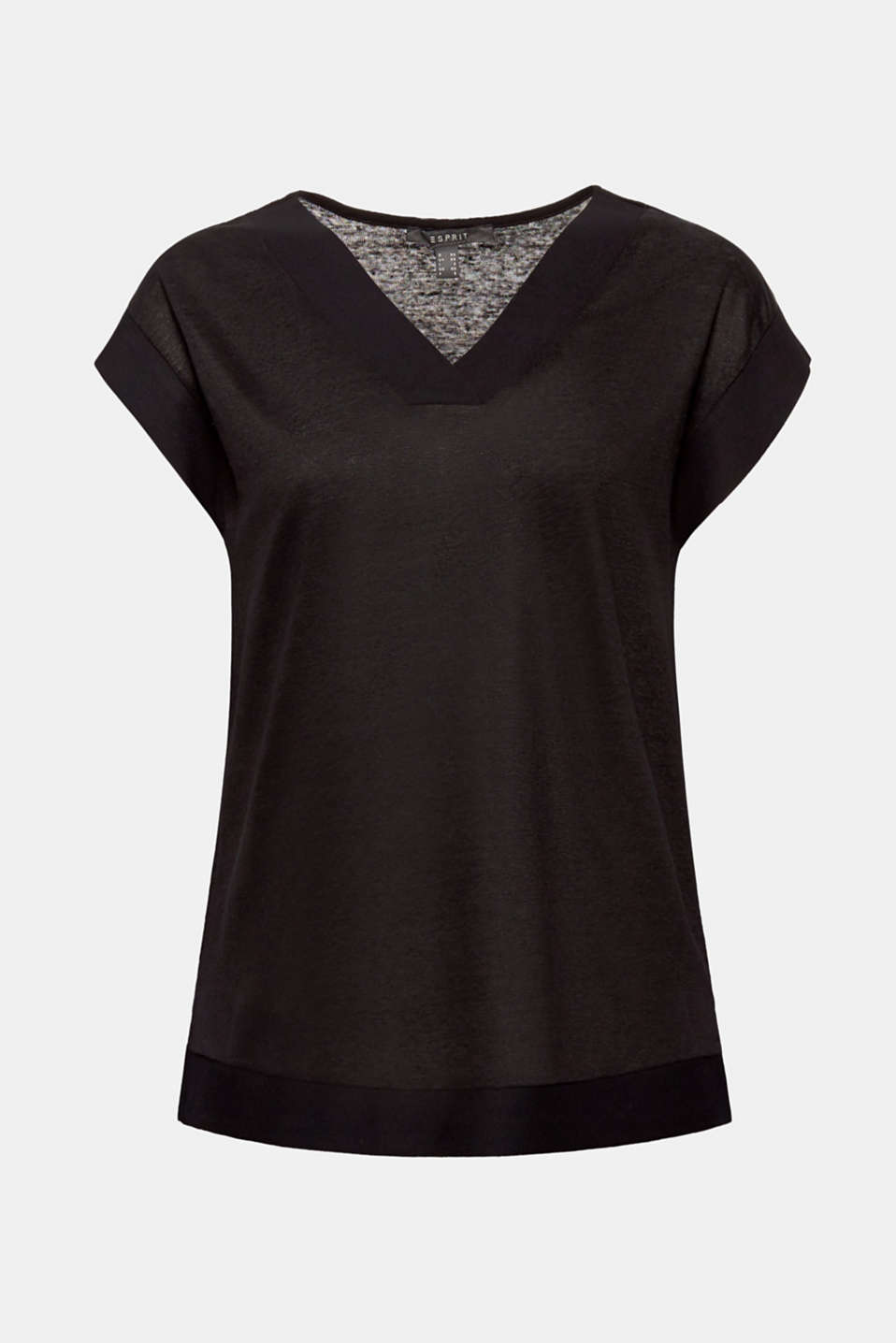 Made of blended linen: top with fabric trims, BLACK, detail image number 7