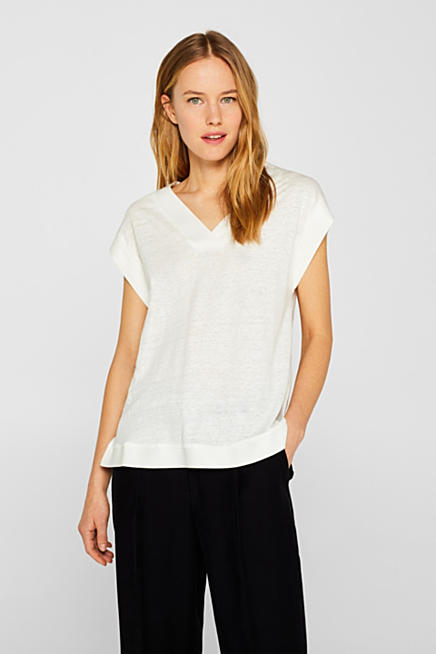 cf75a0d75 En mezcla de lino  camiseta con tiras de tejido