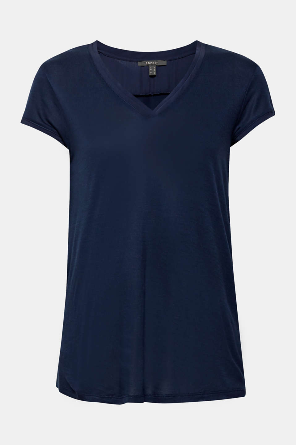 V-neck top in an exquisite material mix, NAVY, detail image number 5