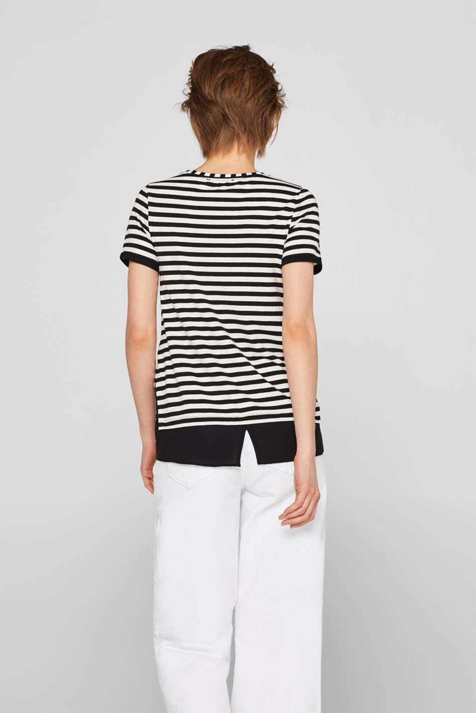 Striped T-shirt with chiffon layering, BLACK, detail image number 3
