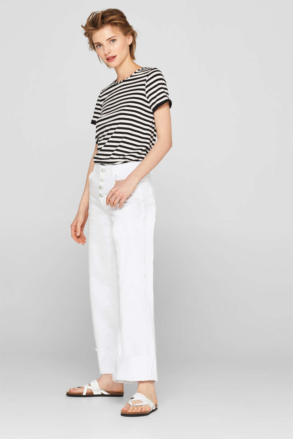 Striped T-shirt with chiffon layering, BLACK, detail