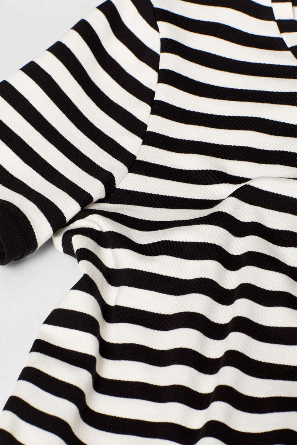 Striped T-shirt with chiffon layering, BLACK, detail image number 4