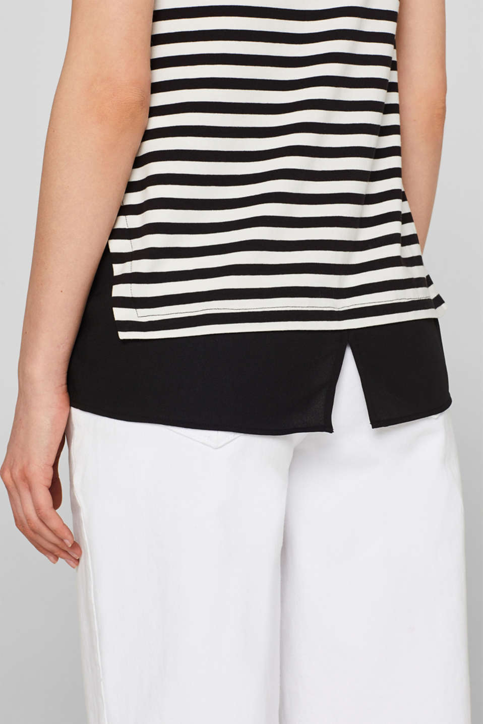 Striped T-shirt with chiffon layering, BLACK, detail image number 5