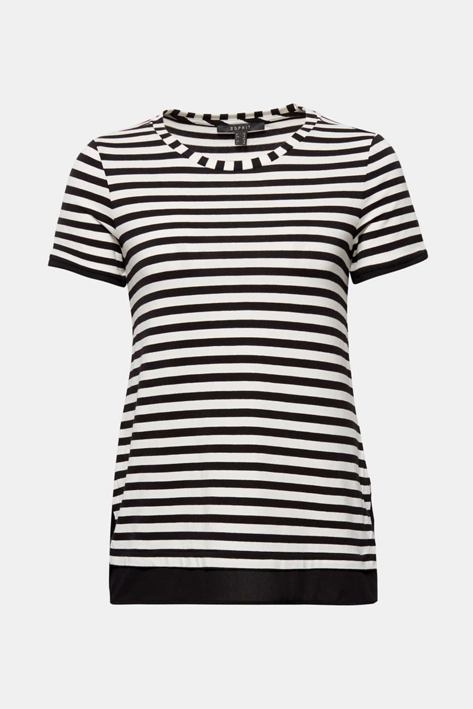 Striped T-shirt with chiffon layering, BLACK, detail image number 6