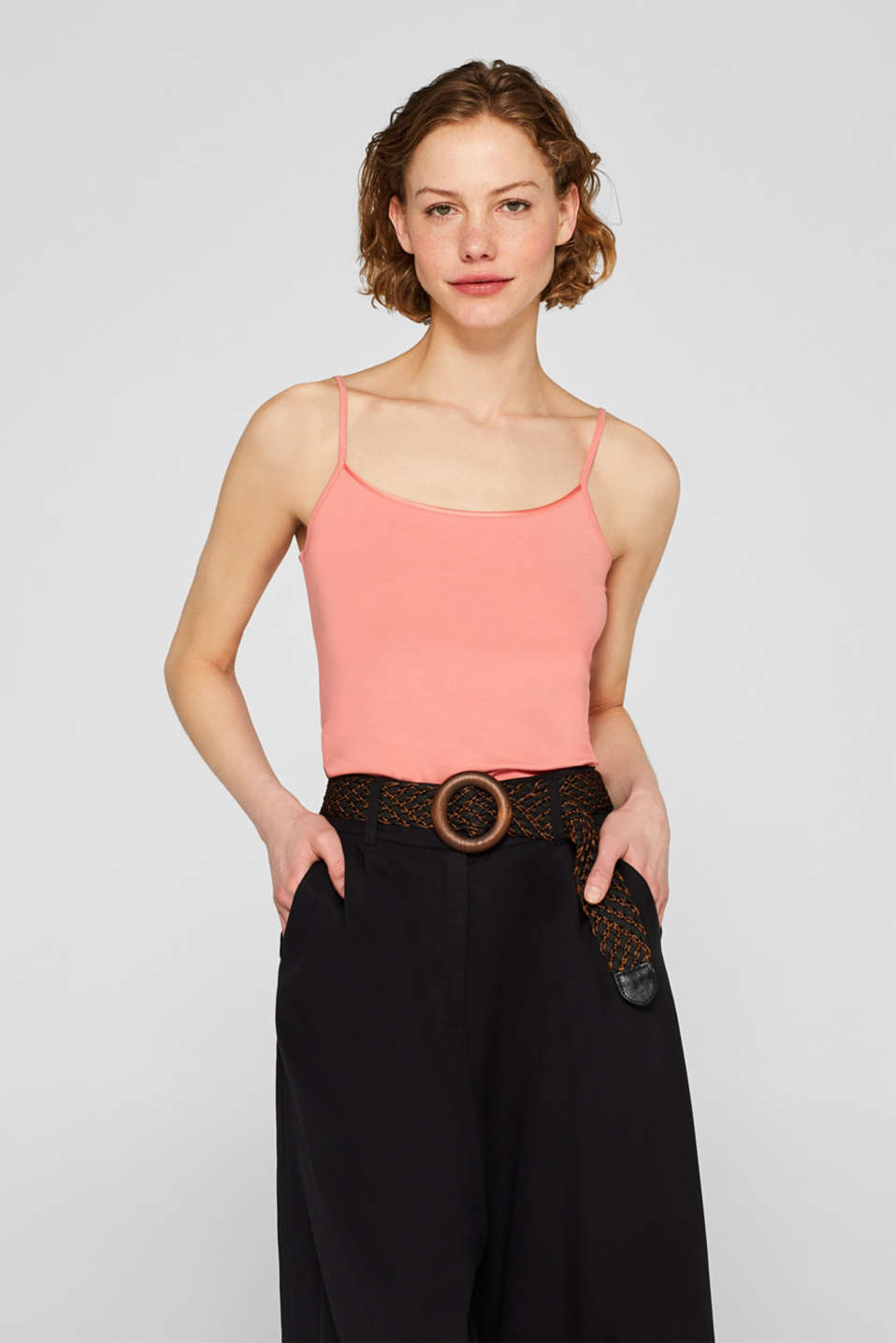Basic stretch top with spaghetti straps, SALMON, detail image number 0