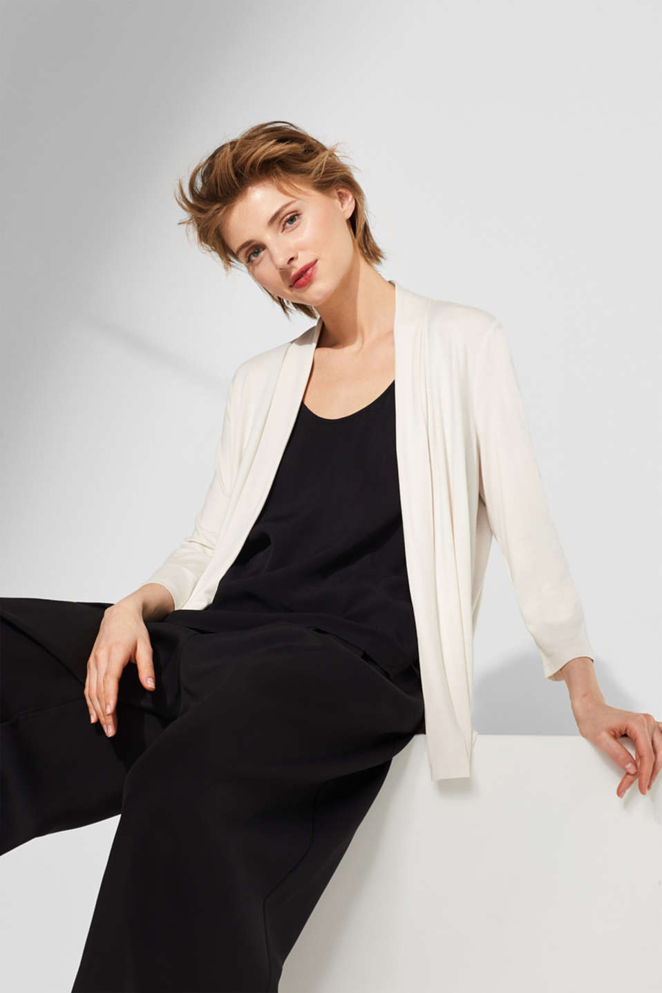 Esprit - Open stretch jersey cardigan