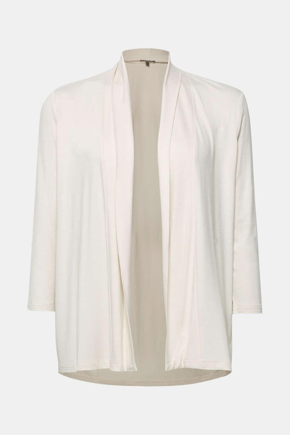 Open stretch jersey cardigan, LIGHT BEIGE, detail image number 6